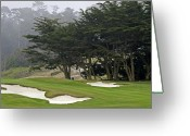 Golf Green Greeting Cards - Pebble Beach Golf Course - California Greeting Card by Brendan Reals