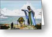 Decorative Art Greeting Cards - Penguin Magic and the Winter Witch Greeting Card by Bob Orsillo