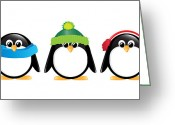 White Digital Art Greeting Cards - Penguins isolated Greeting Card by Jane Rix