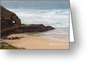 Crashing Waves Greeting Cards - Perranporth in the winter Greeting Card by Brian Roscorla