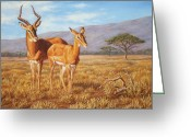 Horns Painting Greeting Cards - Persistence Greeting Card by Crista Forest