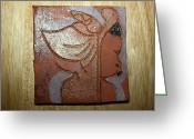 Uganda Pottery Greeting Cards - Perusal - tile Greeting Card by Gloria Ssali