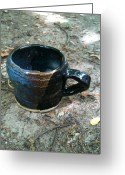 Black Ceramics Greeting Cards - Petite Tea Cup Greeting Card by Emily Osborne