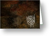 Figures Mixed Media Greeting Cards - Petroglyph 3 Greeting Card by Bibi Romer