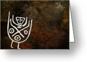 Figures Mixed Media Greeting Cards - Petroglyph 4 Greeting Card by Bibi Romer