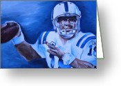 Football Painting Greeting Cards - Peyton Greeting Card by Mikayla Henderson