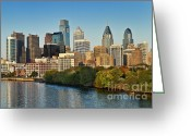 Skylines Photo Greeting Cards - Philadelphia Skyline Greeting Card by John Greim