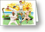 National Mixed Media Greeting Cards - Phillies Through The Ages Greeting Card by Brian Child