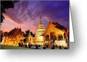 Valuable Time Greeting Cards - Phra Singh temple twilight time Greeting Card by Panupong Roopyai