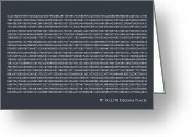 Typography Greeting Cards - Pi to 2198 decimal places Greeting Card by Michael Tompsett