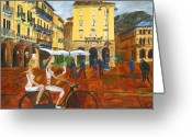 Lake Como Greeting Cards - Piazza de Como Greeting Card by Gregory Allen Page