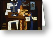 Cubist Greeting Cards - Picasso: Three Musicians Greeting Card by Granger