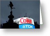Raining Greeting Cards - Piccadilly Circus  Greeting Card by Stefan Kuhn