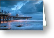 San Clemente Pier Greeting Cards - Pier in Blue Greeting Card by Gary Zuercher