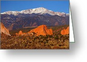 Snow-cap Greeting Cards - Pikes Peak and Garden of the Gods Greeting Card by Jon Holiday