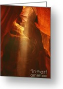 Natural Formation Greeting Cards - Pillars of light - Antelope Canyon AZ Greeting Card by Christine Till