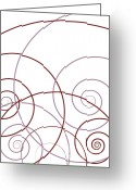 Red Drawings Greeting Cards - Pink And Red Abstract Greeting Card by Frank Tschakert