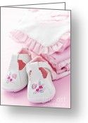 Garment Greeting Cards - Pink baby clothes for infant girl Greeting Card by Elena Elisseeva