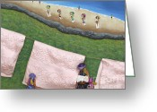 Clay Sculpture Greeting Cards - Pink Linen Greeting Card by Anne Klar