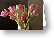 Most Greeting Cards - Pink Tulips in Glass Greeting Card by David Lloyd Glover