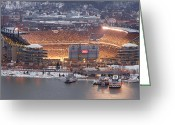 Snow Greeting Cards - Pittsburgh 4 Greeting Card by Emmanuel Panagiotakis