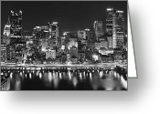 Pittsburgh Skyline Greeting Cards - Pittsburgh Pennsylvania Skyline at Night Panorama Greeting Card by Jon Holiday
