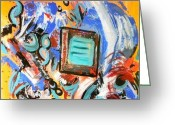 Abstract Art Tapestries - Textiles Greeting Cards - Pizazz Greeting Card by Katina Cote