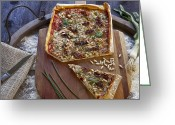 Wooden Board Greeting Cards - Pizza with herbs Greeting Card by Joana Kruse