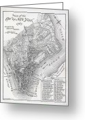 New York City Map Greeting Cards - Plan of the City of New York Greeting Card by American School