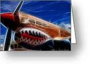 Airplanes Greeting Cards - Plane Flying Tigers Greeting Card by Paul Ward