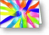 Infant Photo Greeting Cards - Plastic Cutlery Greeting Card by Carlos Caetano