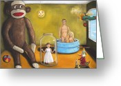 Skinny Dip Greeting Cards - Playroom Nightmare 2 Greeting Card by Leah Saulnier The Painting Maniac