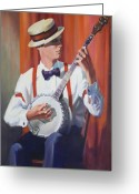 Banjo Greeting Cards - Plectrum Player Greeting Card by Bob Duncan