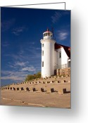 Signal Photo Greeting Cards - Point Betsie Lighthouse Michigan Greeting Card by Adam Romanowicz