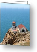 Light Houses Greeting Cards - Point Reyes Lighthouse in California 7D15989 Greeting Card by Wingsdomain Art and Photography