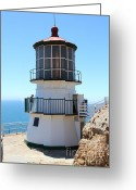 Light Houses Greeting Cards - Point Reyes Lighthouse in California 7D16008 Greeting Card by Wingsdomain Art and Photography