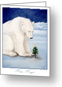 Polar Bear Greeting Cards - Polar prayer... Greeting Card by Will Bullas