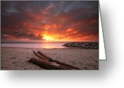 San Diego California Greeting Cards - Ponto Jetty Sunset 3 Greeting Card by Larry Marshall
