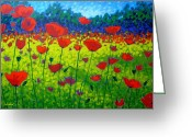Landscape Cards Greeting Cards - Poppy Field Greeting Card by John  Nolan