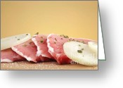 Wooden Board Greeting Cards - Pork chops raw Greeting Card by Blink Images
