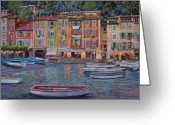 Night Painting Greeting Cards - Portofino al crepuscolo Greeting Card by Guido Borelli