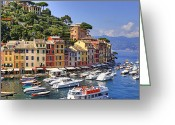 Rowing Greeting Cards - Portofino Greeting Card by Joana Kruse