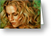 Girl Portrait Greeting Cards - Portrait Greeting Card by Arthur Braginsky