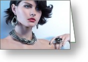 Earrings Photo Greeting Cards - Portrait of a Beautiful Woman Wearing Jewellery Greeting Card by Oleksiy Maksymenko