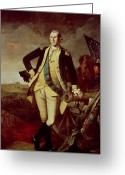 Flag Of The United States Greeting Cards - Portrait of George Washington Greeting Card by Charles Willson Peale