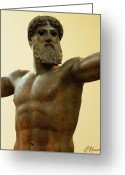 Greek Sculpture Painting Greeting Cards - Poseidon Greeting Card by Ellen Henneke