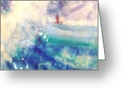 Great Painting Greeting Cards - Powerful Sailing Greeting Card by John Yato