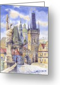 Prague Greeting Cards - Prague Charles Bridge Greeting Card by Yuriy  Shevchuk
