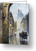 Rain Painting Greeting Cards - Prague Old Street 01 Greeting Card by Yuriy  Shevchuk