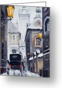 Snow Greeting Cards - Prague Old Street 02 Greeting Card by Yuriy  Shevchuk